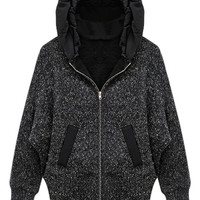 ROMWE | ROMWE Batwing Sleeved Hooded Black Cardigan, The Latest Street Fashion