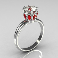 Modern French Antique 10K White Gold Marquise Red Garnet 1.0 CT Round Zirconia Solitaire Ring R90-10KWGCZRG