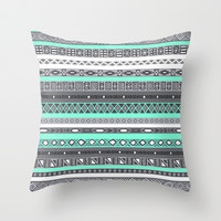 Tiffany Turquoise Aztec Print Throw Pillow by RexLambo
