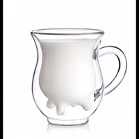 Cow Udder Shaped Pitcher Milk Glass Cup
