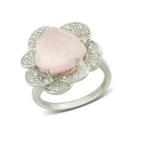 Pink Opal Doublet and 1/10 CT. T.W. Diamond Ring in Sterling Silver