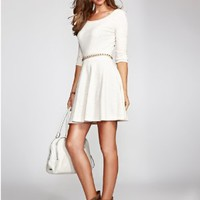 GUESS Women's Three-Quarter Sleeve French Terry Fit-and-Flare Dress