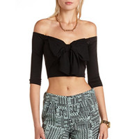 BOW-FRONT OFF-THE-SHOULDER CROP TOP