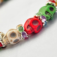 Christmas colors skull bracelet with crystal spacers