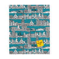 Sharon Turner San Francisco Teal Rectangular Magnet Board