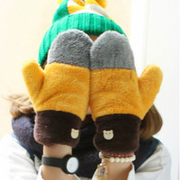 Multicolor Soft Coral Fleece Color Blocking Womens Gloves Mittens Cartoon Bear