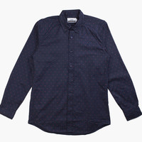 Men's Pantelic Poplin Twill L/S Polka Dot Shirt (Navy)