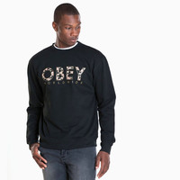 Men's Obey Floral Worldwide Crewneck Sweater (Black)