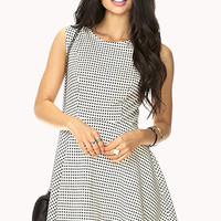 Retro Windowpane Print Dress