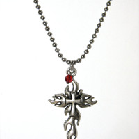 Joan of Arc Silver Flaming Cross Pendant, Unisex Necklace, Red Swarovski Crystal, Nomad Style, Bohemian Jewelry