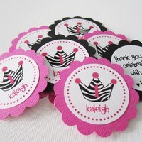 Zebra Stripe Print Crown Favor Tags for Girls Birthday Party