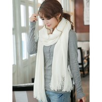 Korean Style Fringe Tassel Womens Soft Scarf Shawl Neck-wrap Muffler Accessory