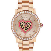Betsey Johnson Watch, Women's Rose Gold-Tone Bracelet 40mm BJ00190-57