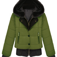 ROMWE | ROMWE Panel Faux Fur Hooded Single-breasted Green Down Coat, The Latest Street Fashion
