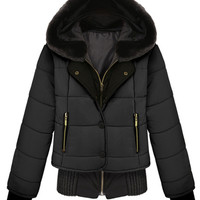 ROMWE | ROMWE Panel Faux Fur Hooded Single-breasted Black Down Coat, The Latest Street Fashion