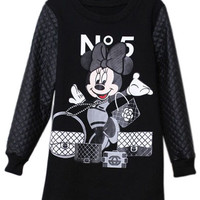 ROMWE | ROMWE Faux Leather Panel Mickey Mouse Black Dress, The Latest Street Fashion