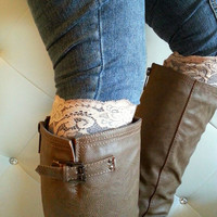 Light Beige floral Lace boot cuff accessories- Back in stock