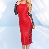 RED BLACK MESH FAUX LEATHER SIDE CUTOUT MIDI DRESS