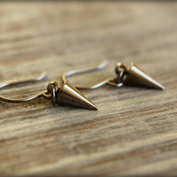 Spike Dangle Earrings in Gumetal