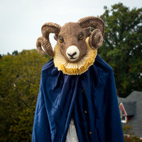 Needle felted Renaissance Ram Costume - one of a kind - with Elizabethan style neck ruff and cape