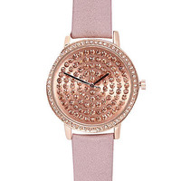 LIGHT PINK LEATHER ENCRUSTED WATCH