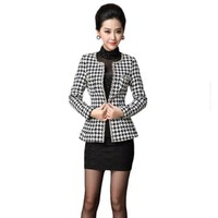 Women's Round Neck Long Sleeves Houndstooth Beaded Short Coat