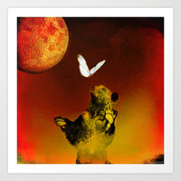 The bear and the butterfly Art Print by ganech