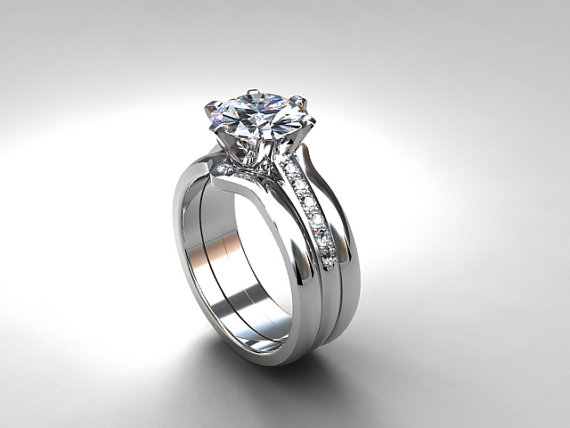 white topaz engagement ring set from