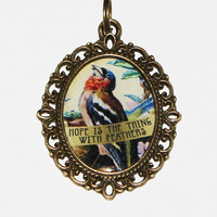 Hope Is The Thing With Feathers Pendant Necklace