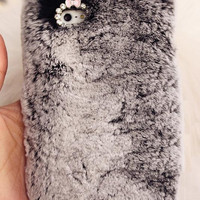 Bushy Gray Fur Case iphone 5c/5s/5g/4s/4g, Furry samsung case, furry galaxy s3 s4 note2 note3 case
