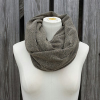 Mocha Brown Infinity Scarf - Cowl Sweater Scarf - Chunky Thermal Camel Brown Eternity Scarf - Missoni Brown Thermal Knit Snood Hood