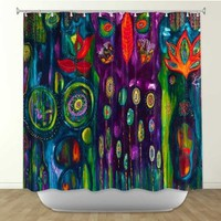 Shower Curtain Artistic Designer from DiaNoche Designs by Arist Michele Fauss Home Décor and Bathroom Ideas - The Believers Garden