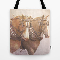 Draft Horses 2 Tote Bag by Veronica Ventress