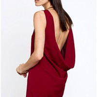 Wine Backless Dress