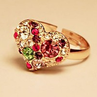 Colorful Heart Rhinestone Ring (Adjustable)