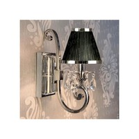 Interiors 1900 Oksana 1 Light Wall Fitting In Nickel Finish With Crystal Drops And Black Shade - Interiors 1900 from Castlegate Lights UK