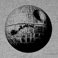 Santa passing Death Star - Men's Christmas T shirt - Geek Tee - Star Wars Tshirt - American Apparel - Track Tee - Holidays