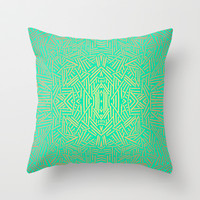 Radiate (Yellow/Ochre Teal- non metallic) Throw Pillow by Jacqueline Maldonado