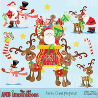 40% OFF SANTA Claus clipart package, vector graphics, digital clipart, instant download AMB-508