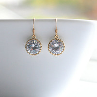 Large, cubic zirconia, gold, bridal, earrings - KYLIE