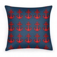 Anchor Pattern Blue Pillow