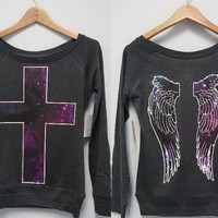 Long Sleeve Shirt - Galaxy Printed Cross + Wings