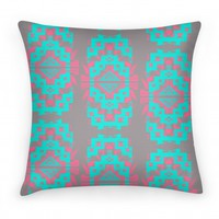 Aztec Pillow Mint and Pink