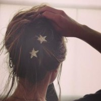 Catbird :: shop by category :: Hair :: Silver Sparkler Star Bobby Pins
