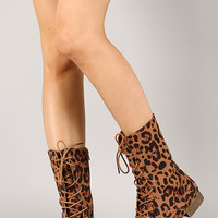 Libby-10 Leopard Lace Up Round Toe Mid Calf Boot