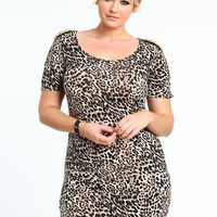 PLUS SIZE STUDDED LEOPARD DRESS