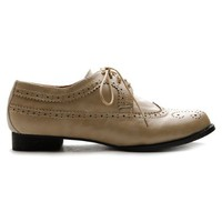 Ollio Womens Oxfords Lace Ups Low Heels Wingtip Dress Brown Shoes