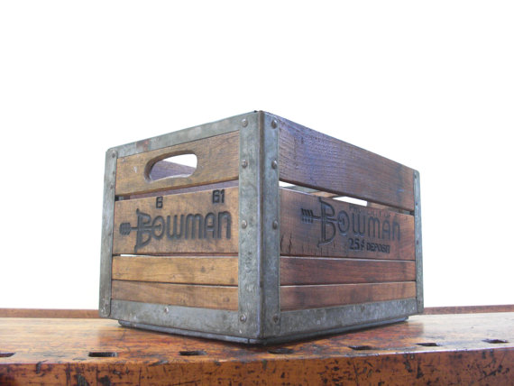 Vintage wood crate bowman crate antique from for Where can i buy wooden milk crates