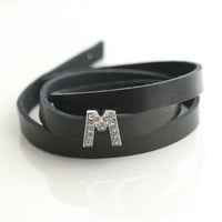 Black leather, crystal, initial, wrap bracelet - INITIAL LEATHER WRAP