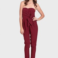 Tres Chic Sweetheart Jumpsuit In Burgundy